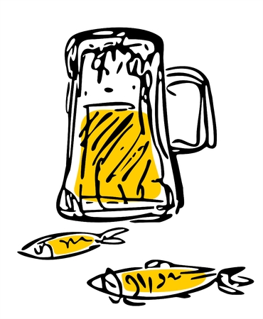 Stylized a mug of beer and two fishes on a white background. Stock Vector - 1799203
