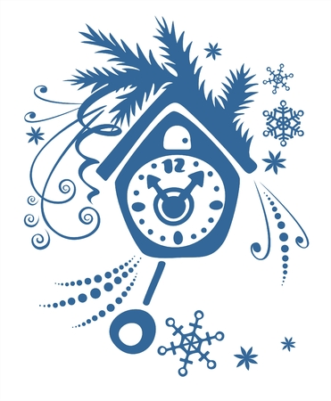 simplify: Dark blue cuckoo clock, fur-tree branch and snowflakes on a white background. Illustration