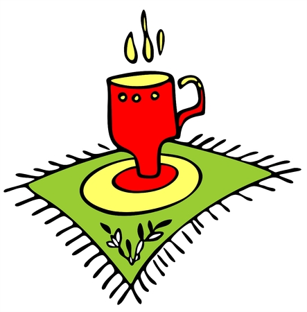 sip: El rojo estilizada copa en un �rea verde con una servilleta decorativa ornamento.