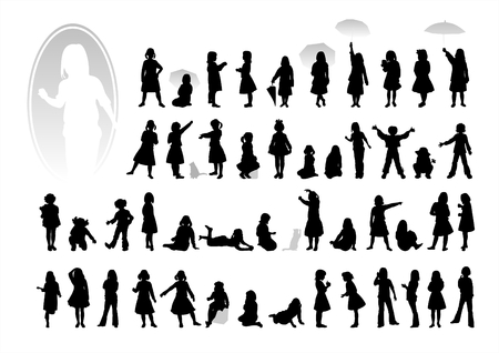 Black childrens silhouettes on a white background. Illustration