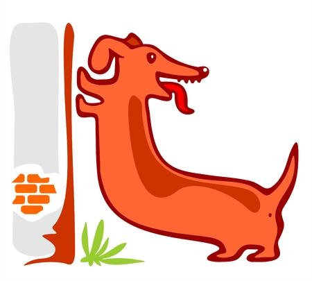 temperamento: El largo descanso estilizadas patas de perro en una pared.