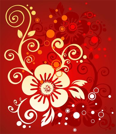 simplify: The white stylized flower and circles on a red background.
