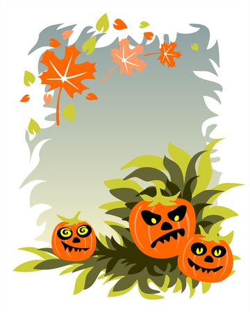 frighten: Three pumpkins on a background of a grass, the sky and flying leaves.