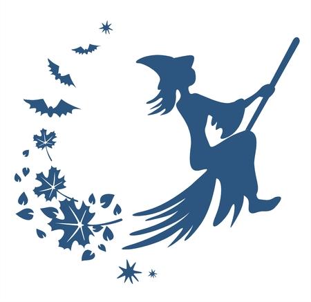 attribute: Donkerblauw silhouet van een heks op bezem, vliegende bladeren en vleermuizen.
