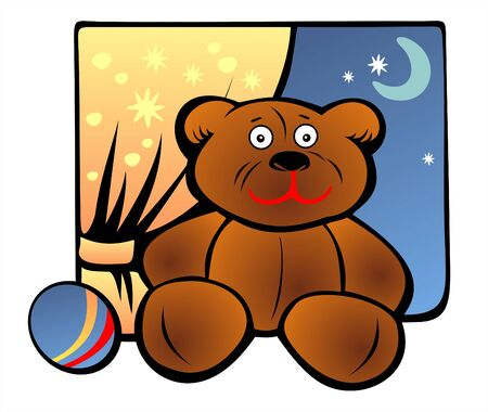Toy bear and ball on a background of a curtain, the moon and the evening sky.