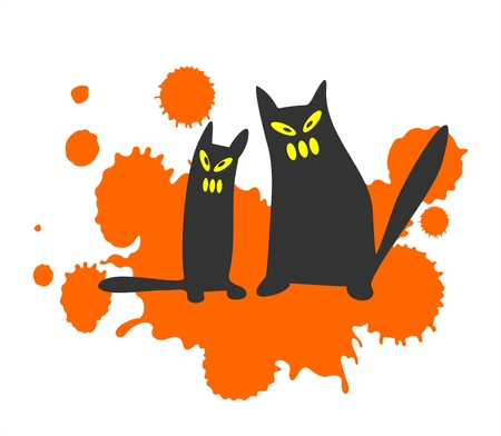 spiteful: Two black stylized cats on a background of an orange blot. Halloween  illustration.