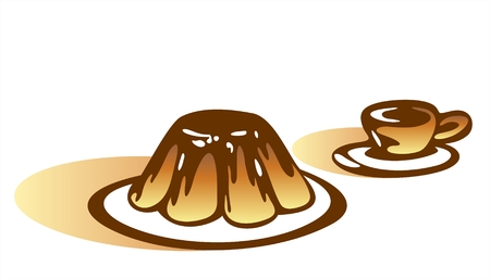 Stylized a chocolate pudding and a cup on a white background with shadows.