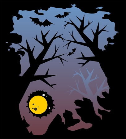 spiteful: Black silhouettes of trees and bats on a background of the night sky and the moon.