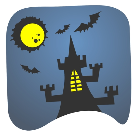 frighten: Black silhouette of a tower with shone windows on a background of the moon and the night sky.