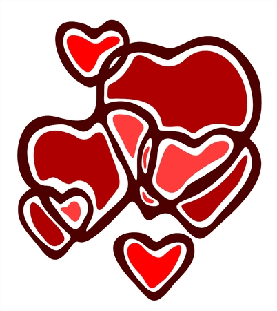Composition from the red stylized crossed hearts on a white background. Ilustração