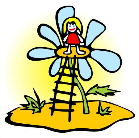 The little girl has got on a flower on a ladder.