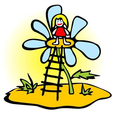 fondly: The little girl has got on a flower on a ladder.