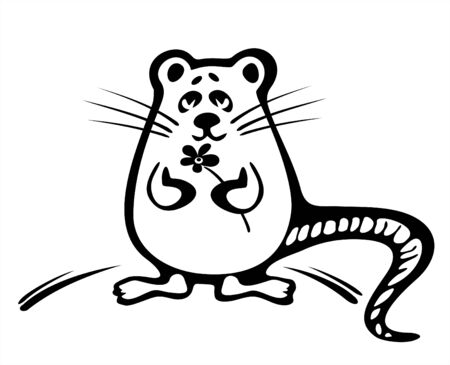 fondly: The amusing stylized mouse with a flower  on a white background.