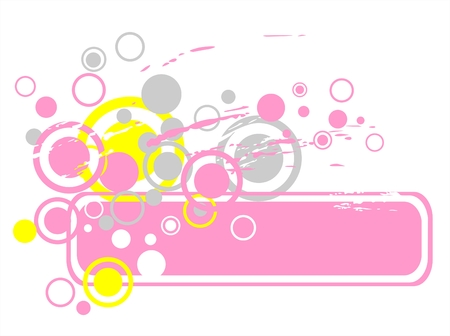 simplify: The grunge pink frame with gray, yellow and pink circles on a white background. Illustration