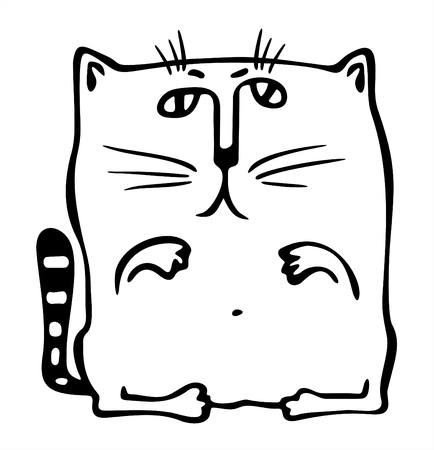 fondly: The square stylized black-and-white cat. Illustration