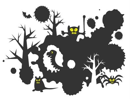 attribute: Halloween grunge achtergrond met zwarte vlekken, monsters en bomen.