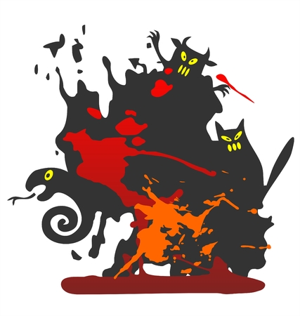 Halloween grunge black background with spots and monsters. Stock Vector - 1842901