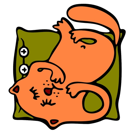 The red stylized cat sleeps on a pillow head over heels. Illustration