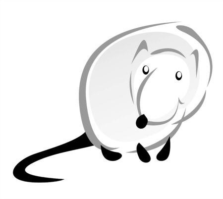 The amusing stylized mouse with on a white background. Illustration