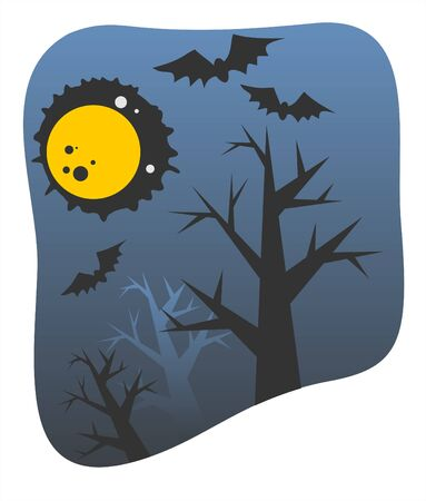 Dark silhouettes of trees and bats on a background of the moon and the night sky.