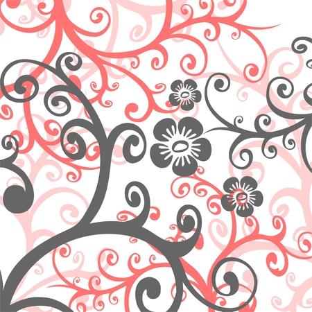 vereenvoudigen: Fragmenten van de roze en grijze gestileerde bloemen op een witte achtergrond. Stock Illustratie