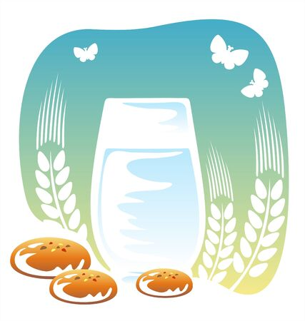 milk and cookies: Glass of milk, cookies and butterflies on a background of the sky.