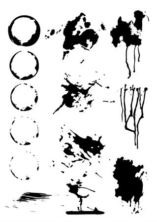 ink jet: Black ink grunge prints on a white background.