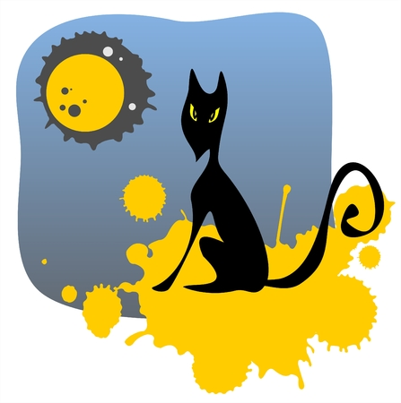 The black stylized cat on a background of the night sky, the moon and yellow grunge spots. Vector