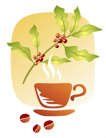Branch of a coffee tree, cup and coffee grains on a white background. Vector