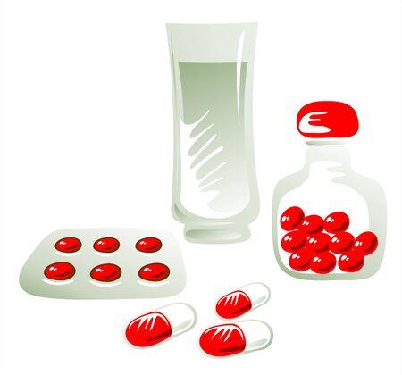blister: Een glas water, geneeskunde in capsules, tabletten onder blister en tabletten in de pot.