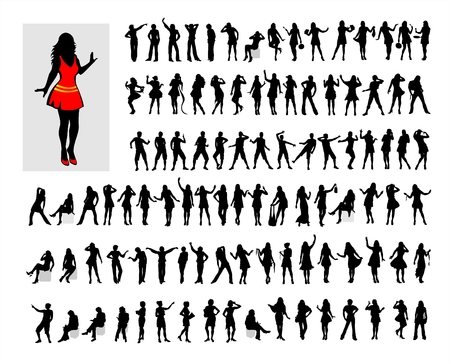 Hundred black female silhouettes on a white background.