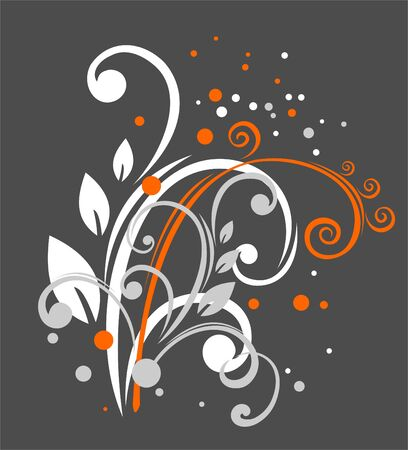 simplify: White and orange vegetative curls and points on a dark grey background. Illustration