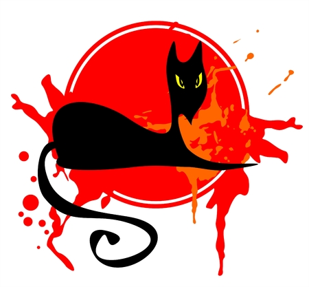 The black stylized cat in the red grange frame. Vector
