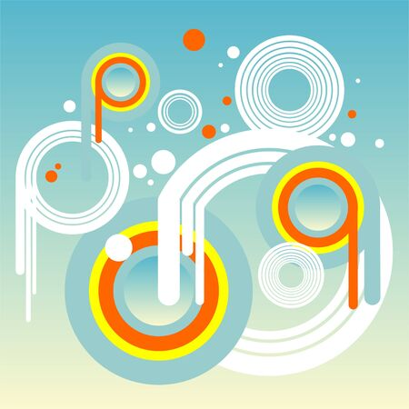 Abstract composition from white, yellow and orange circles on a blue background. Stock Vector - 1868092