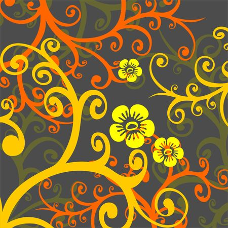 simplify: Fragments of the yellow and orange stylized flowers on a dark  background.