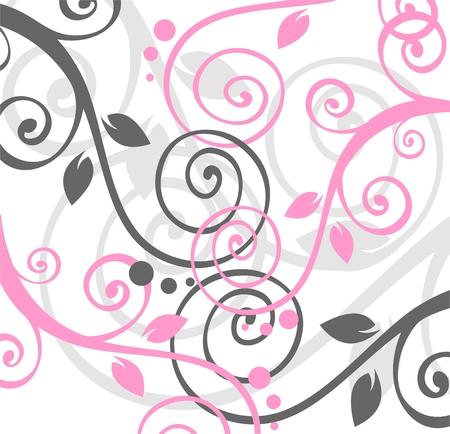 vereenvoudigen: Roze en grijze spiraal vegetatief patroon op een witte achtergrond. Stock Illustratie