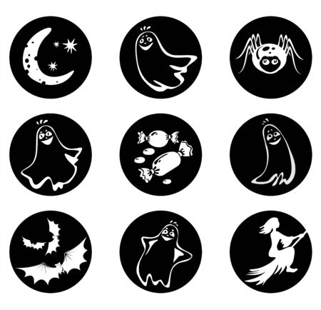 Symbols of a Halloween: ghosts, a spider, sweets, bats, the moon and a witch. Stock Vector - 1868094