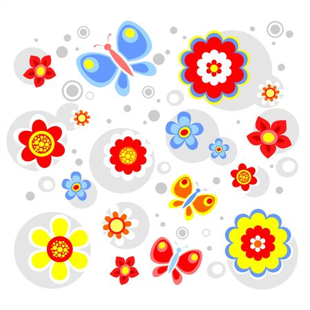 The bright stylized flowers and circles on a white background. Illustration
