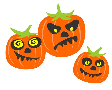 Three stylized pumpkins with different expressions of persons on a white background.