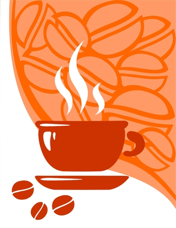 invigorate: Cup of coffee on a background of the stylized coffee bean.