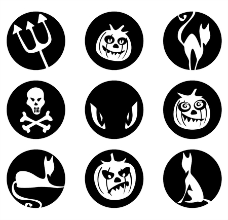 simplify: White silhouettes of pumpkins, cats, skull, trident and eyes on a black background. Symbols of a Halloween. Illustration
