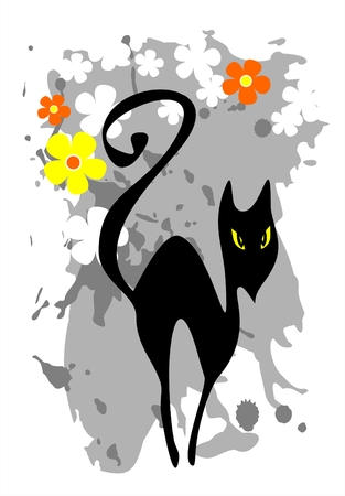 The stylized black cat on a grunge grey flower background. Vector
