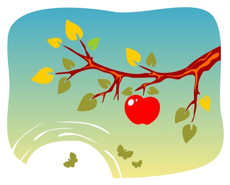 ripen: Branch of an apple-tree with an apple  on a background of the sun and butterflies.