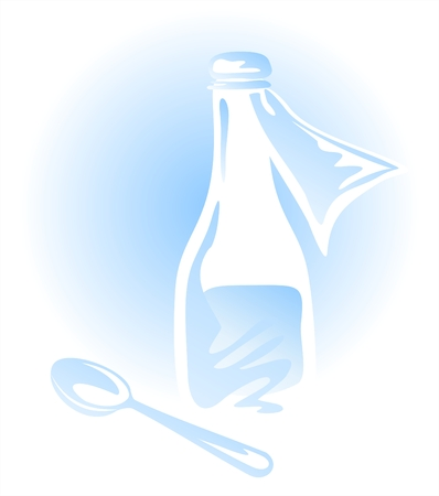 dosage: Ancient bottle with mixture and the spoon for drink of a medicine. Illustration
