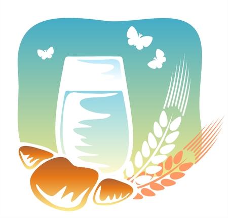 produits c�r�aliers: Verre de lait et un croissant avec les oreilles et les papillons sur un fond de ciel.