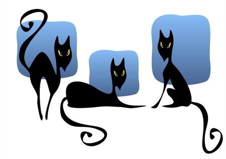 Three stylized black cats on a background of the night sky. Illustration