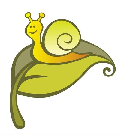 creeps: El divertido caracol estilizada de una hoja verde. Ilustraci�n digital. Vectores