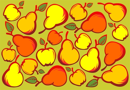 ripened: The red and yellow stylized apples on a green background. Digital illustration. Illustration