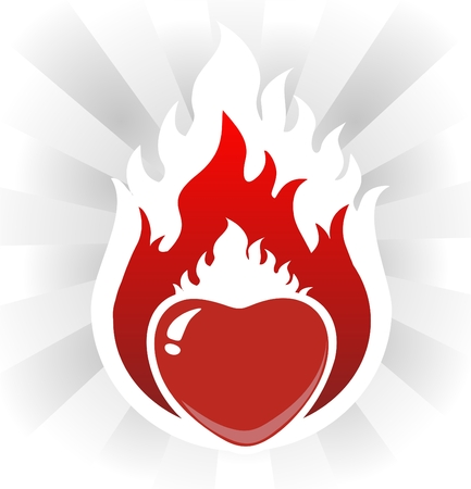 burns: The stylized flaring heart on a white background with beams. Illustration