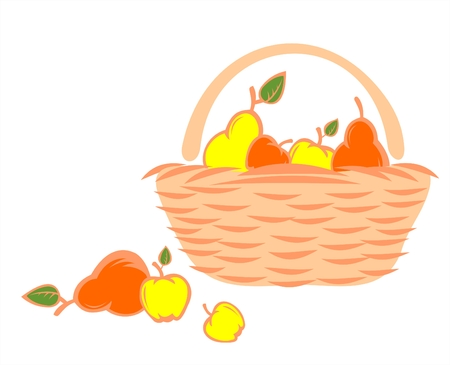 The red and yellow stylized apples and pears lay in a basket and near it. Illustration